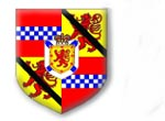 David Lindsay of Edzell: Quarterly 1st and 4th gules a fess chequy argent and azure 2nd and 3rd Or a lion rampant debruised of a ribbon Sable; an inescutcheon for Nova Scotia (argent a saltire azure surmounted of an inescutcheon Or charged with a lion rampant within a double tressure flory counterflory gules ensigned of an Imperial Crown proper)