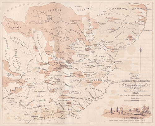 Map of the Lands of the Lindsays in Angus & Mearnshire and engraved for Jervise's Land of the Lindsays 1853.